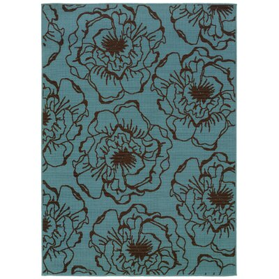 Newfield Blue/Brown Indoor/Outdoor Area Rug Rug Size: 53 x 76