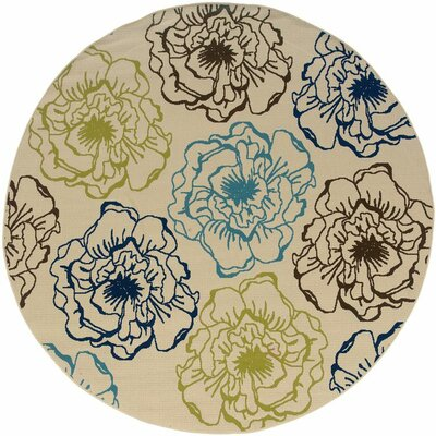 Newfield Ivory/Blue Indoor/Outdoor Area Rug Rug Size: Round 710