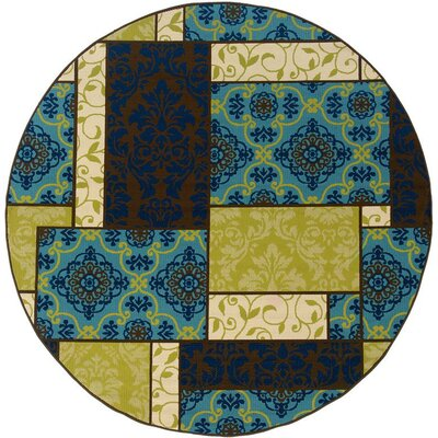 Newfield Brown/Blue Indoor/Outdoor Area Rug Rug Size: Round 710