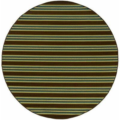 Brendel Brown/Green Striped Indoor/Outdoor Area Rug Rug Size: Round 710