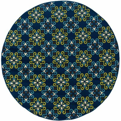 Newfield Blue/Green Indoor/Outdoor Area Rug Rug Size: Round 710