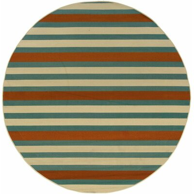 Brendel Hand-woven Blue/Ivory Indoor/Outdoor Area Rug Rug Size: Round 710