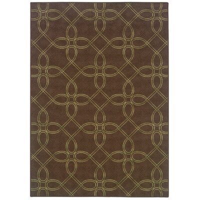 Newfield Hand-Woven Brown/Green Indoor/Outdoor Area Rug Rug Size: Rectangle 37 x 56