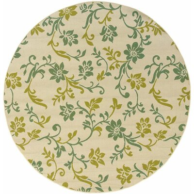 Newfield Ivory/Green Indoor/Outdoor Area Rug Rug Size: Round 710
