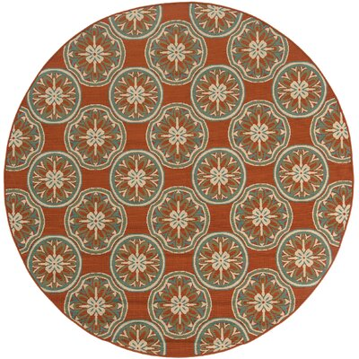 Newfield Orange/Ivory Indoor/Outdoor Area Rug Rug Size: Round 710
