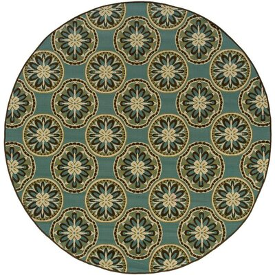 Newfield Blue/Ivory Indoor/Outdoor Area Rug Rug Size: 67 x 96
