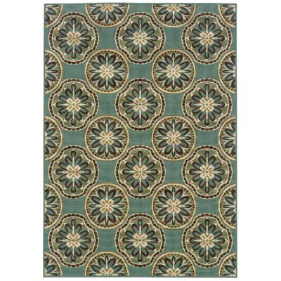 Newfield Blue/Ivory Indoor/Outdoor Area Rug Rug Size: 37 x 56