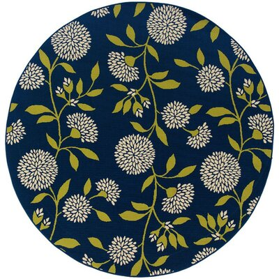 Lenoir Blue/Green Indoor/Outdoor Area Rug Rug Size: Round 710