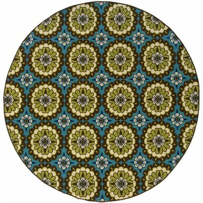 Brendel Blue/Brown Indoor/Outdoor Area Rug Rug Size: Round 710