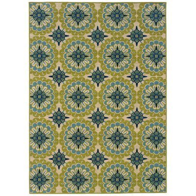 Brendel Green/Ivory Indoor/Outdoor Area Rug Rug Size: Rectangle 37 x 56