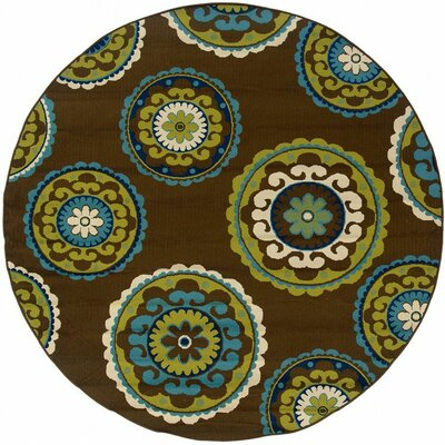 Brendel Brown/Green Indoor/Outdoor Area Rug Rug Size: Rectangle 53 x 76