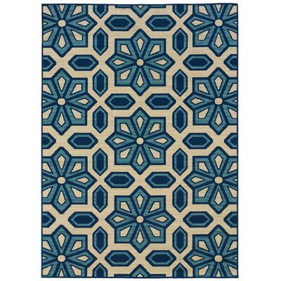 Eldridge Ivory/Blue Indoor/Outdoor Area Rug Rug Size: Rectangle 53 x 76