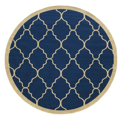 Edinburgh Blue/Ivory Indoor/Outdoor Area Rug Rug Size: 53 x 76