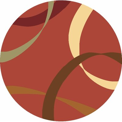 Jordan Red Area Rug Rug Size: Round 53