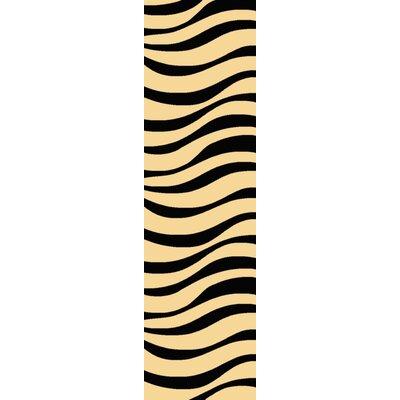 Jordan Beige/Black Area Rug Rug Size: Runner 23 x 710