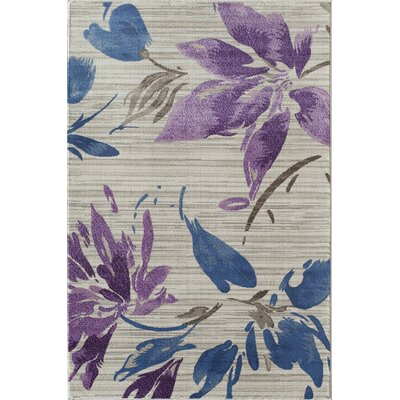 Pembroke White/Purple Area Rug Rug Size: 2 x 3