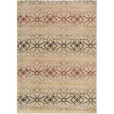 Culver Floral/Geometric Beige Area Rug Rug Size: Rectangle 67 x 96
