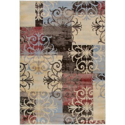 Culver Floral/Geometric Beige Area Rug Rug Size: Rectangle 93 x 126