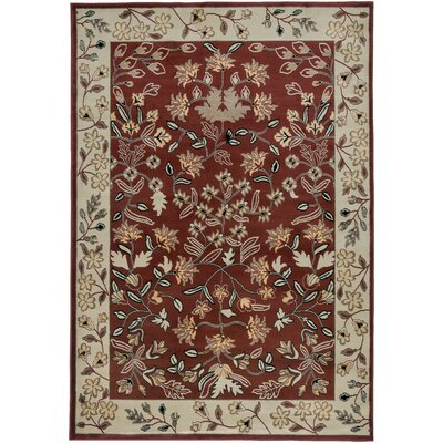 Culver Floral/Geometric Red Area Rug Rug Size: 93 x 126