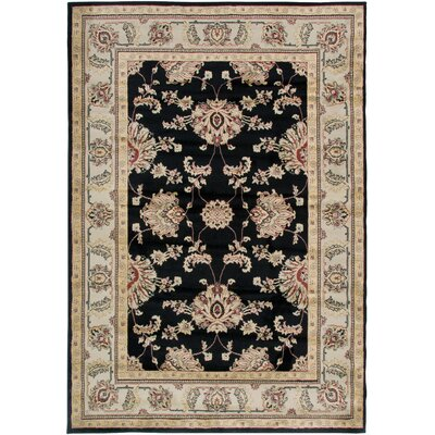 Culver Black Floral Area Rug Rug Size: Rectangle 93 x 126
