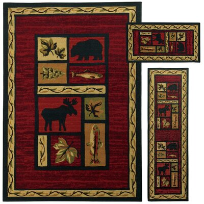 Westview 3 Piece Red/Black Area Rug Set