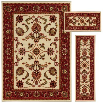 Westview 3 Piece Beige/Red Area Rug Set
