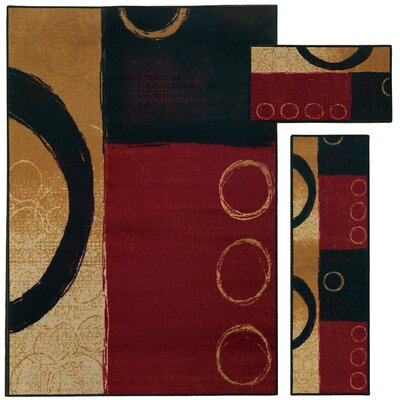 Westview 3 Piece Red/Black Area Rug Set