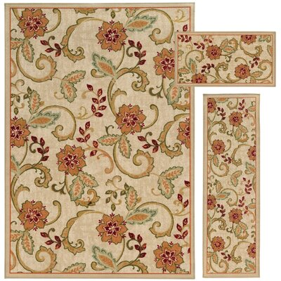 Westview 3 Piece  Beige/Orange Area Rug Set