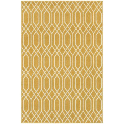 Brookline Gold/Ivory Indoor/Outdoor Area Rug Rug Size: Rectangle 53 x 76