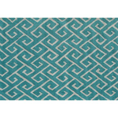 Stockton Hand-Hooked Blue Area Rug Rug Size: Rectangle 5 x 7