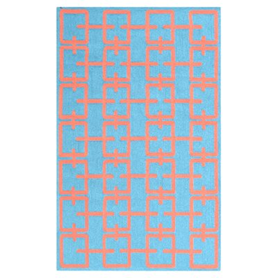 Linden Hand-Hooked Blue Area Rug Rug Size: Rectangle 76 x 96