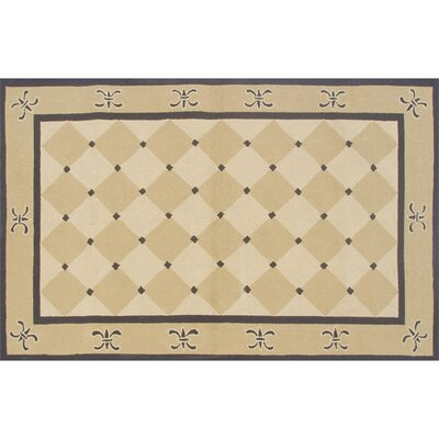 Andrew Hand-Hooked Gold Indoor/Outdoor Area Rug Rug Size: 5 x 8
