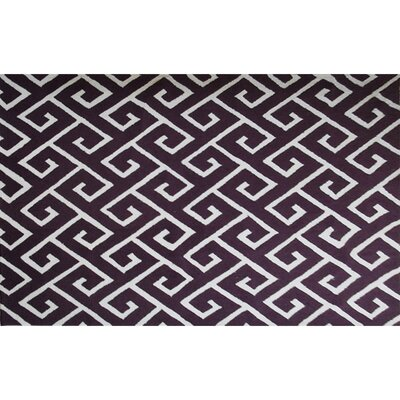 Bambous Hand-Hooked Aubergine/White Area Rug Rug Size: 5 x 7