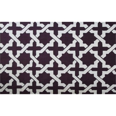 Vallon Hand-Hooked Aubergine Area Rug Rug Size: Rectangle 5 x 7