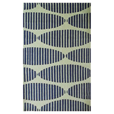 Wolcott Hand-Hooked Navy/Green Area Rug Rug Size: Rectangle 5 x 7