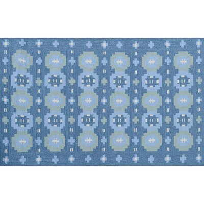 Bryce Hand-Hooked Blue Indoor/Outdoor Area Rug Rug Size: Rectangle 5 x 76