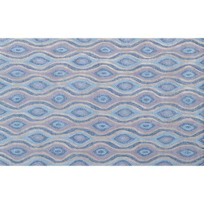 Tristan Hand-Hooked Blue Indoor/Outdoor Area Rug Rug Size: Rectangle 5 x 76