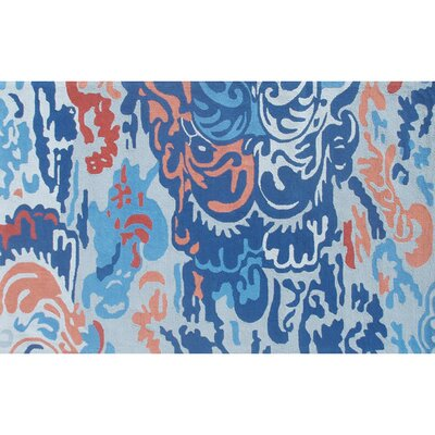Alder Hand-Hooked Blue Indoor/Outdoor Area Rug Rug Size: Rectangle 5 x 8