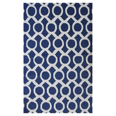 Tipton Hand-Hooked Navy Area Rug Rug Size: 5 x 7
