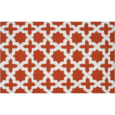 Kendall Hand-Hooked Orange Indoor/Outdoor Area Rug Rug Size: Rectangle 5' x 7'6