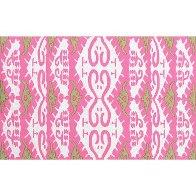 Roland Hand-Hooked Pink Area Rug Rug Size: Rectangle 7'6