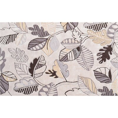 Groveland Hand-Hooked Cream Area Rug Rug Size: Rectangle 5 x 76