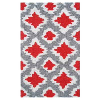 Beaumont Hand-Hooked Red/Gray Area Rug Rug Size: 5 x 7