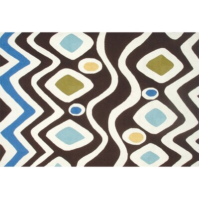 Orson Hand-Hooked Brown/Blue Indoor/Outdoor Area Rug Rug Size: Rectangle 5 x 76