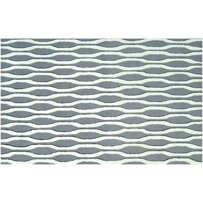 Aspen Hand-Woven Grey/White Area Rug Rug Size: 76 x 96
