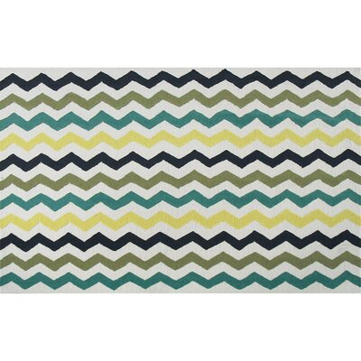 Humphries Hand-Hooked Blue/Green Area Rug Rug Size: 5 x 7