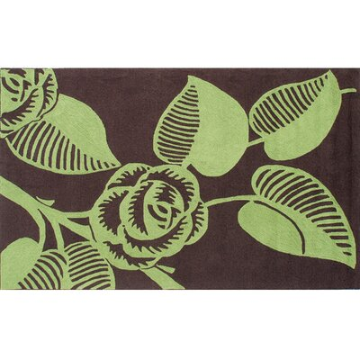 Noelle Hand-Hooked Green/Brown Indoor/Outdoor Area Rug Rug Size: 8 x 10