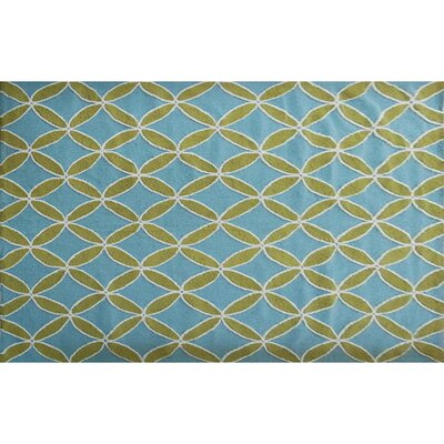 Hutchinson Hand-Hooked Green/Blue Area Rug Rug Size: 5 x 7