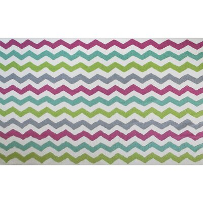 Bainsbury Hand-Hooked White/Purple Area Rug Rug Size: Rectangle 7 x 10