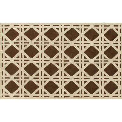 Rockville Hand-Hooked Brown/Ivory Indoor/Outdoor Area Rug Rug Size: 5 x 8
